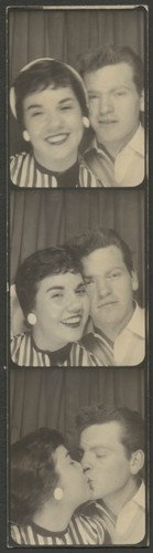 ** Vintage Photo Booth Picture **   Young couple in love.  Circa 1950