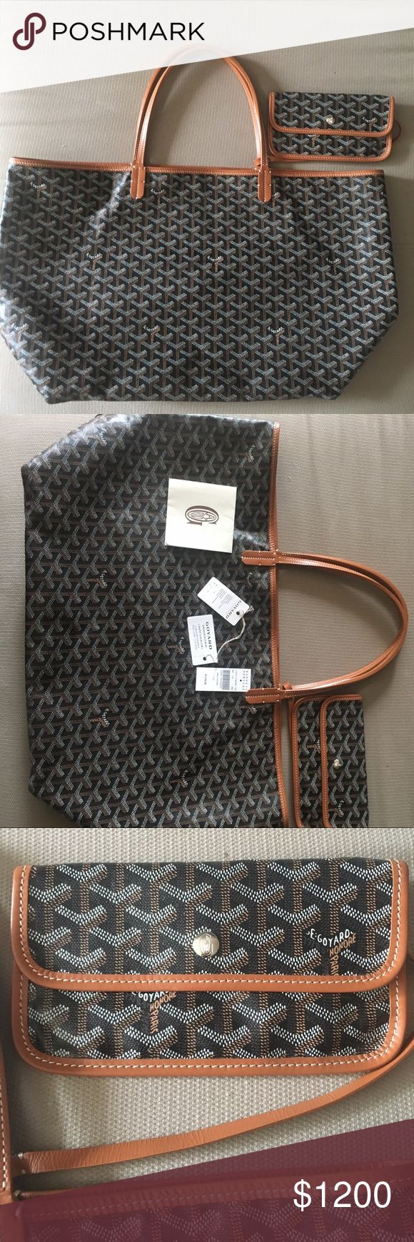 Authentic Goyard St. Louis GM in Black&Tan Authentic Large Goyard St.Louis GM Tote in Black and Tan. Pics include the original tags and receipt from Barneys NY with price.  In great condition but I am selling bc I have way too many bags sitting in my closet. Goyard Bags Totes