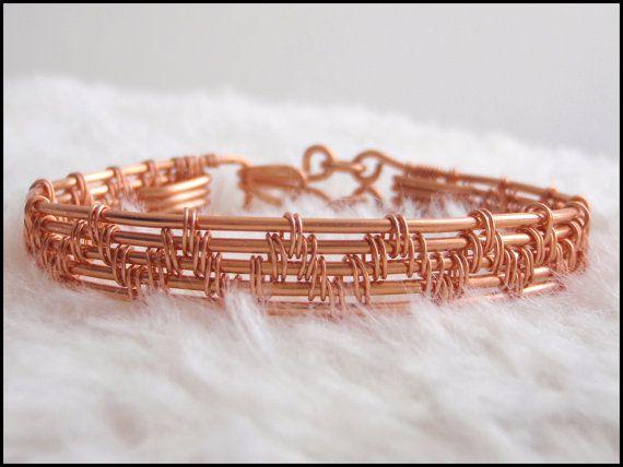 Copper bracelet. Stylish modern hand-crafted by TheCraftyDwarf