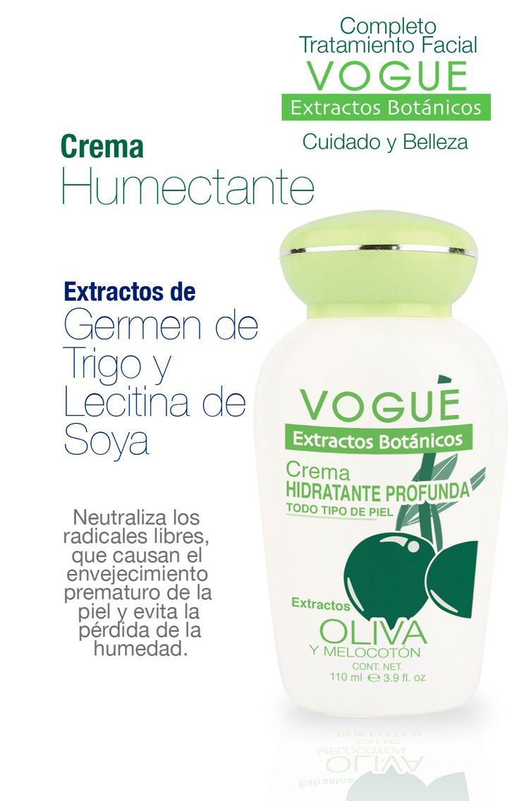 Crema Humectante con Extracto de Germen de Trigo y Lecitina de Soya. VOGUE  Extractos Botánicos
