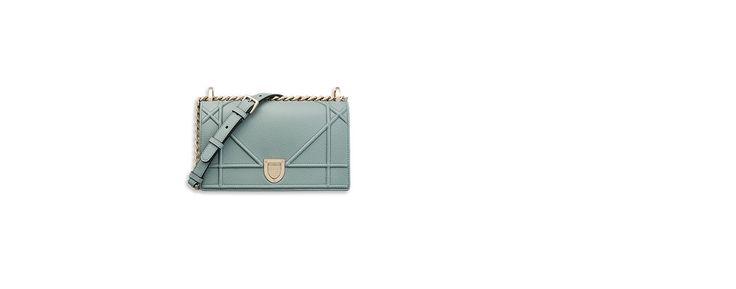Petit sac « diorama » en veau grainé bleu - Dior