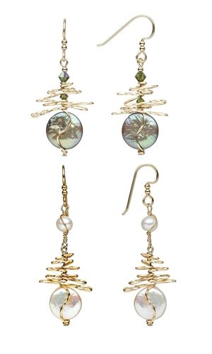 Earrings with Swarovski Crystal Beads and Cultured Freshwater Pearls and Wirework - Fire Mountain Gems and Beads