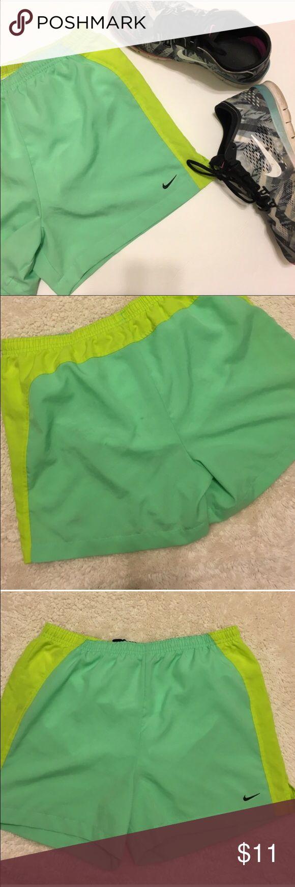 Nike Shorts Nike Green Shorts With Mesh Lining Size Women's Large Elastic Waist small stain Nike Shorts