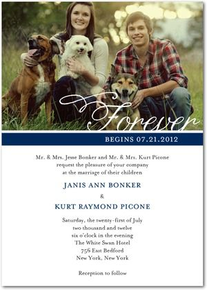 Wedding invitation- I love how they incorporated the dogs in the pic :)