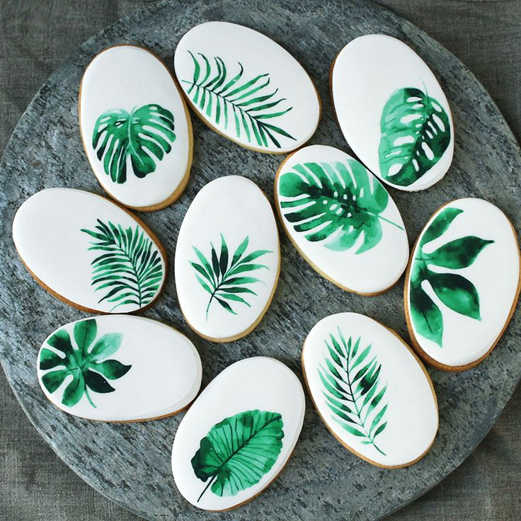 Tropical leaves biscuits by Wildflower Cakes London www.wildflowercakes.co.uk