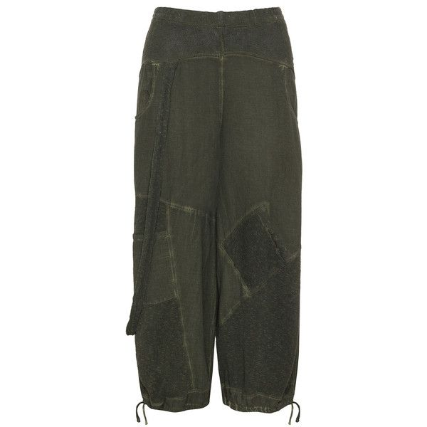 INCA Khaki-Green Plus Size Cotton balloon trousers ($74) ❤ liked on Polyvore featuring pants, plus size, saggy pants, drawstring pants, plus size khaki pants, womens plus size khaki pants and elastic waist pants