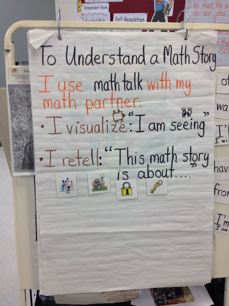 Math talk chart for understanding math stories. Students have a math partner with like ability and they talk about the story first to ensure understanding.