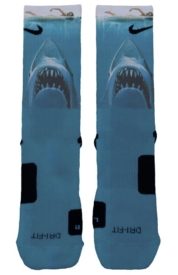 SHARK WEEK JAWS Custom Nike Elite Socks by OkSock on Etsy
