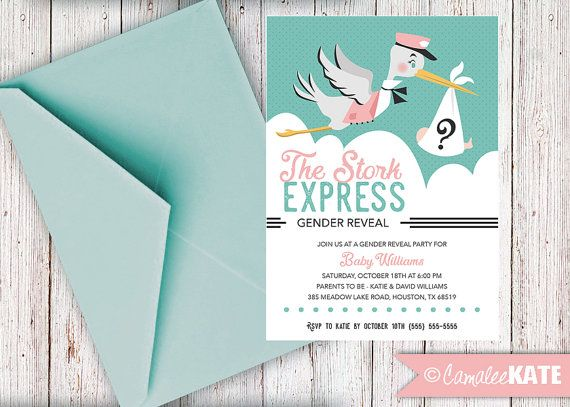 22 best Baby Shower Gender Reveal Printable Invitations images – Stork Party Invites
