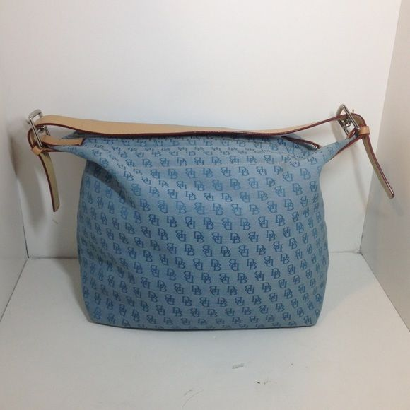 Dooney and Bourke handbag Blue monogram pocketbook with light beige handle and silver hardware Dooney & Bourke Bags