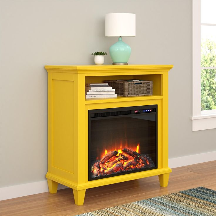 Ameriwood Home Ellington Electric Fireplace Accent Table 32-inch TV Stand (32-inch media fireplace, yellow)