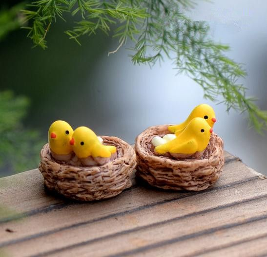 Free shipping mini bird miniatures fencing fairy garden gnome moss terrariums resin crafts decorations for home and garden