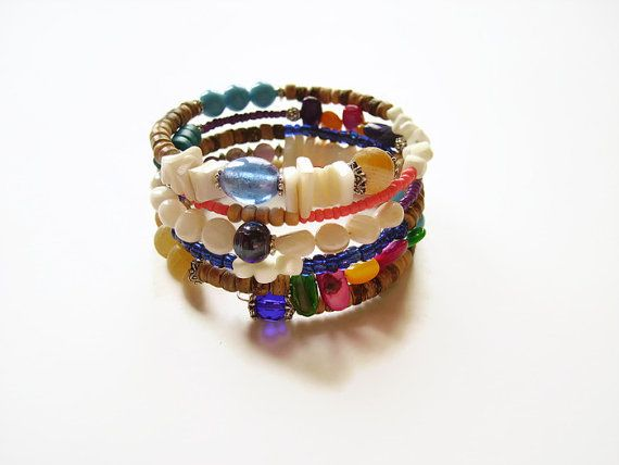 Beaded memory wire glass summer bracelet wrap by AellaJewelry