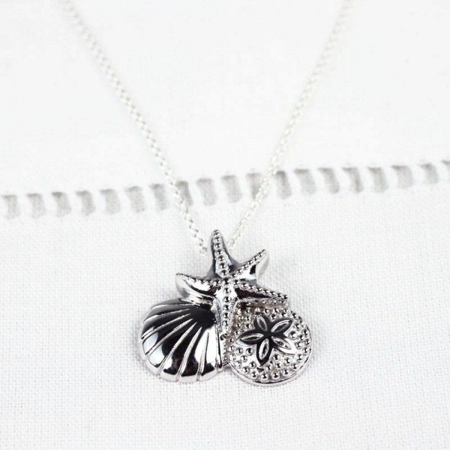 Starfish & Scallop Sterling Necklace