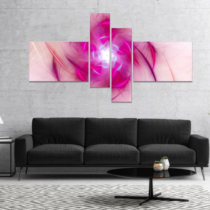 Designart 'Purple Fractal Nuclear Reaction' Floral Canvas Art Print