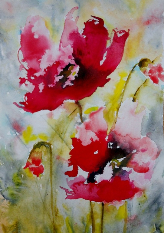 "Saatchi Online Artist: Karin Johannesson; Watercolor, 2012, Painting ""Red Poppies"""