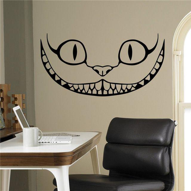 Sonriendo Alice in Wonderland Gato de Cheshire Del Vinilo Etiqueta de La Pared de Dibujos Animados Casa Interior Para Niños Kids Room Decor