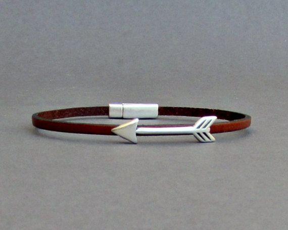 Arrow Bracelet Mens Tiny Leather Bracelet Spear Dainty by GUSFREE