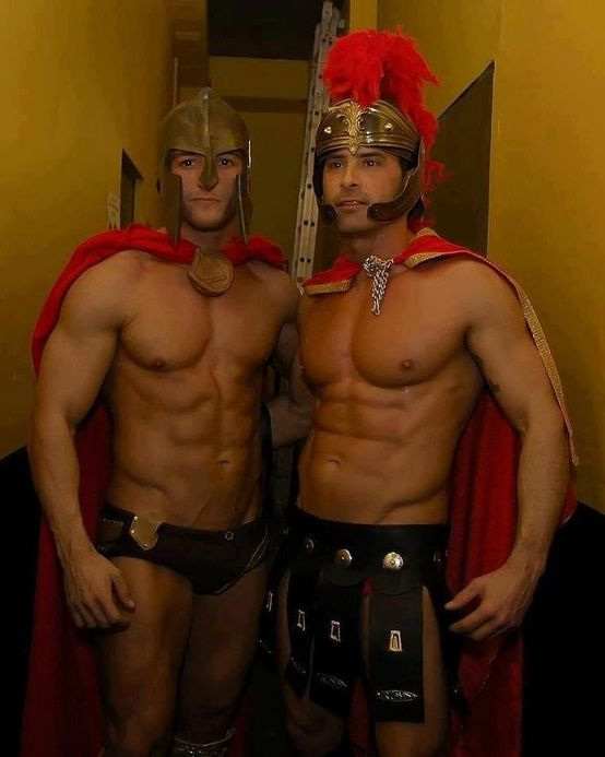 Costumed Spartan And Roman Hunks Halloween Costumes