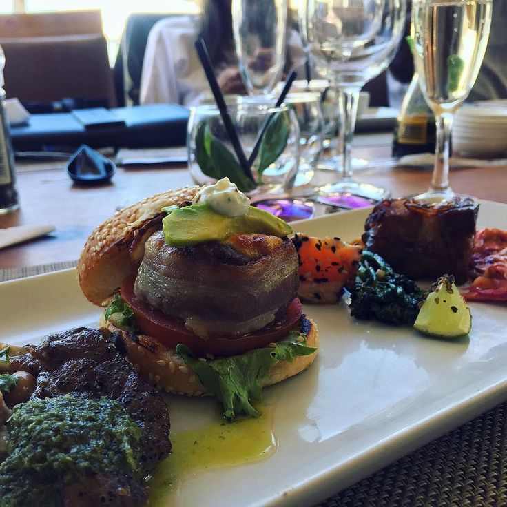 SUMMER DAYS | @shimmybeach just launched their summer menu and boy are we having a good time here. Depicted here are some tasters of whats on offer - Lamb Lollipop Moodie Burger Salmon and Pork Belly.