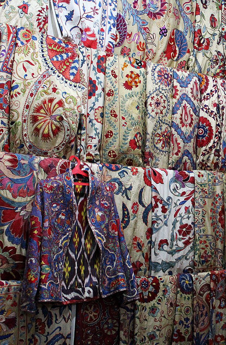 Countless suzani hanging in a Samarkand shop; beautiful colours, patterns and textures. A reason enough to visit Uzbekistan, if you decided to travel along the Great Silk Road.