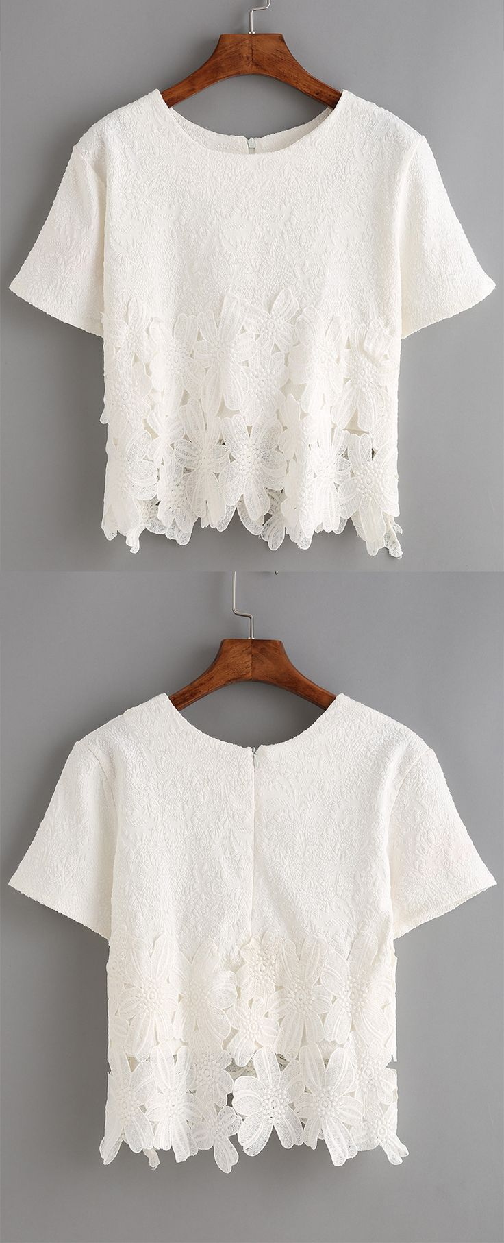 Absolutely love the delicate lace insert jacquard on this soft t-shirt. Super cute white lace tee. Best fo