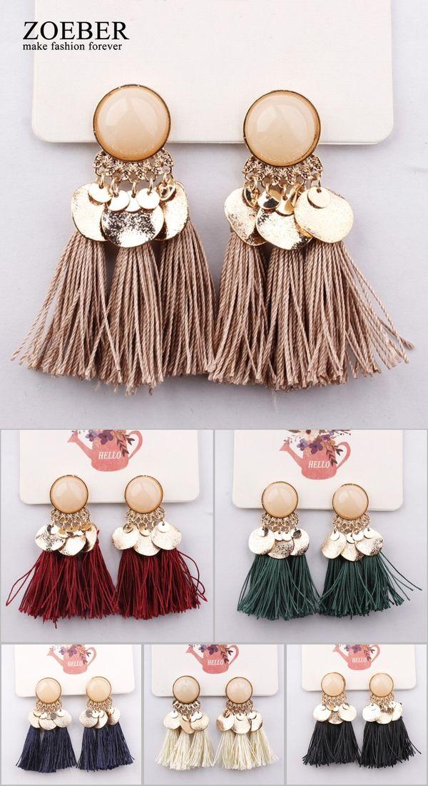 dad8190cd 2018 Ethnic Bohemia Women Dangle Drop Earrings Summer Round Resin Tassel  Earrings for Women Fashion Jewelry Pendientes oorbellen