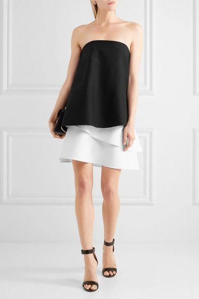 Halston Heritage - Strapless Layered Cotton-blend Faille Mini Dress - Black - US