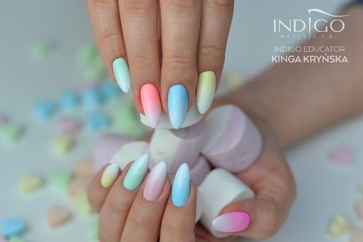 See U Later, Alligator, Florida Dreams, Chiquita Banana, Miss America, Strawberry Milk, , Sugarmama by Indigo Educator Kinga Kryńska #nails #nail #indigo #indigonails #nailsart #pastelnails #pastel #ombrenails #ombre