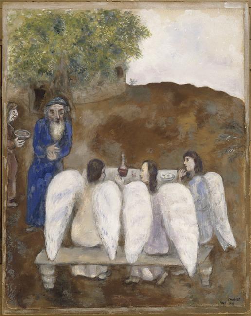 Three angels visit Abraham (Les trois anges reçus par Abraham) by Marc Chagall. 1931, Paris.