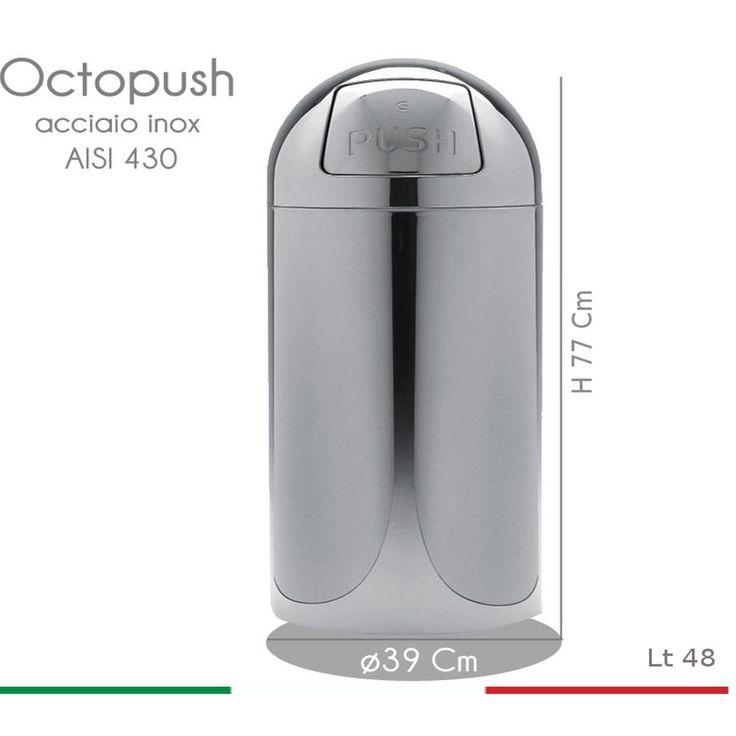 Pattumiera Octopush Maxi diametro 39xh77 cm - 48 lt con sportello basculante in acciaio inox | Graepel spa | Stilcasa.Net: pattumiere