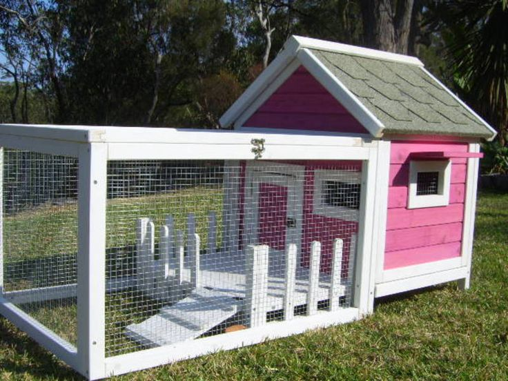 Rabbit guinea pig hutch cage run somerzby cottage pink for Free guinea pig hutch