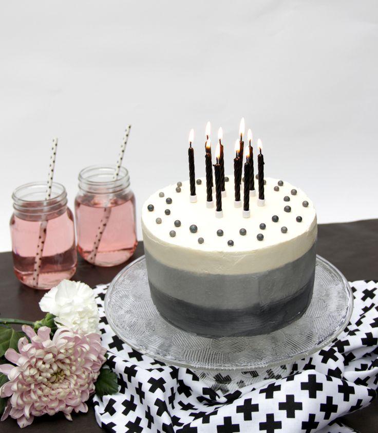 Stylish black and white buttercream cake