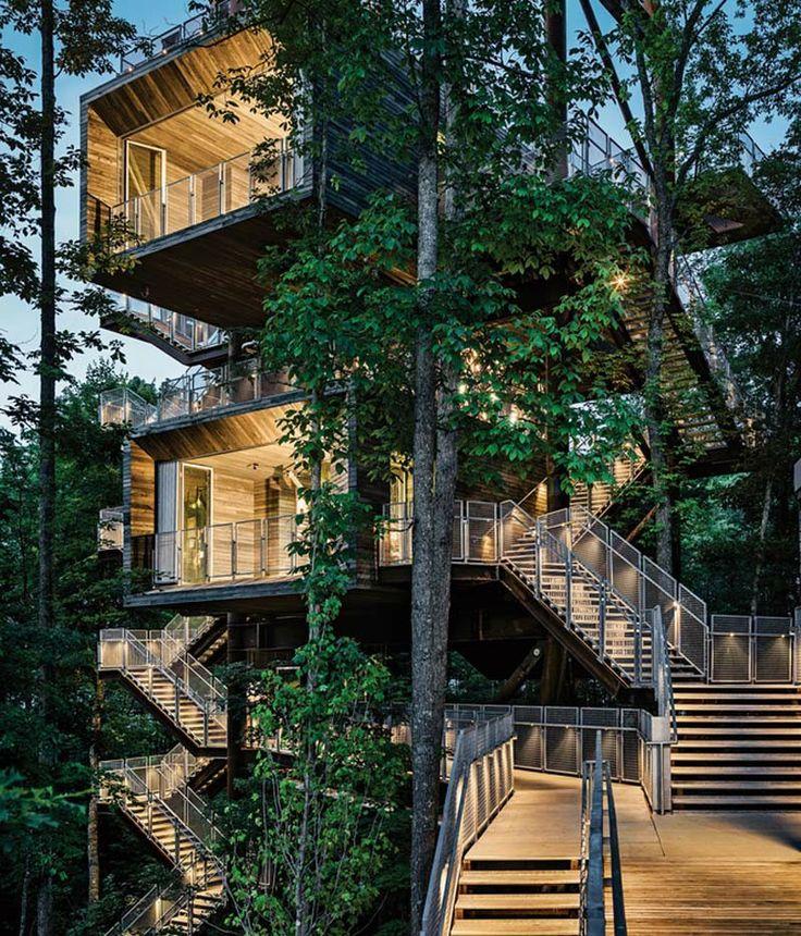 Le cabinet d'architecture Mithun, basé à Seattle, a créé une maison durable dans les arbres pour les Boy Scouts of America. Elle sert de centre de formation en Virginie Occidentale.  Installée au milieu des arbres, la structure dispose d'un ensemble d'escaliers extérieurs allant du sol jusqu'au sommet, 38 m plus haut ! Au sommet, on retrouve une éolienne et un générateur photovoltaïque qui servent pour les leçons sur les énergies renouvelables.