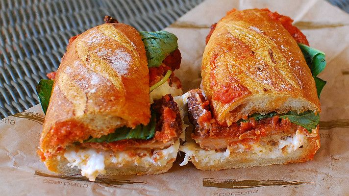 """Chicken """"Parmigiano"""" at Paninoteca by Scarpetta - named one of The Best Sandwiches in Los Angeles."""