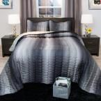 Striped Charcoal and Silver Metallic King 3-Piece King Comforter Set, Grays