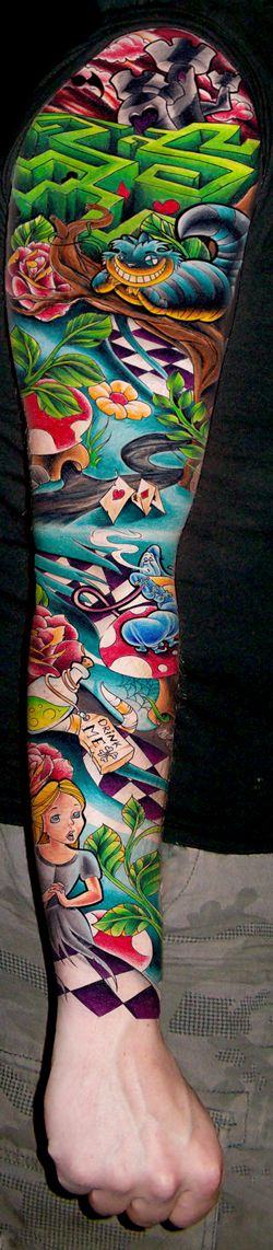 Alice In Wonderland sleeve tattoo .... so bright!