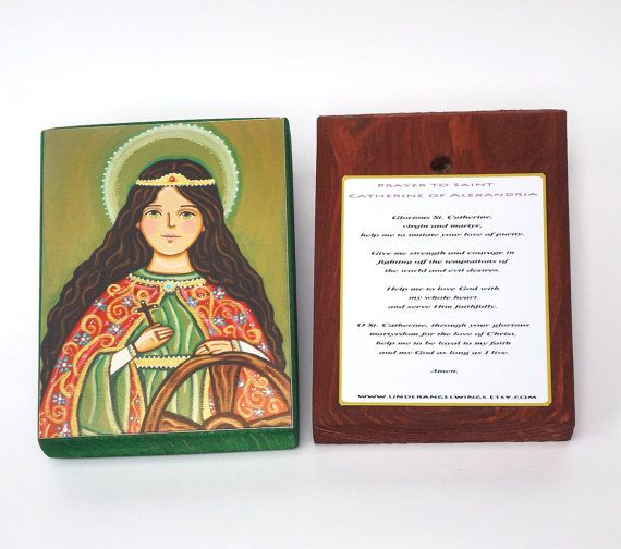 St Catherine of Alexandria Wood block print by UnderAngelWings