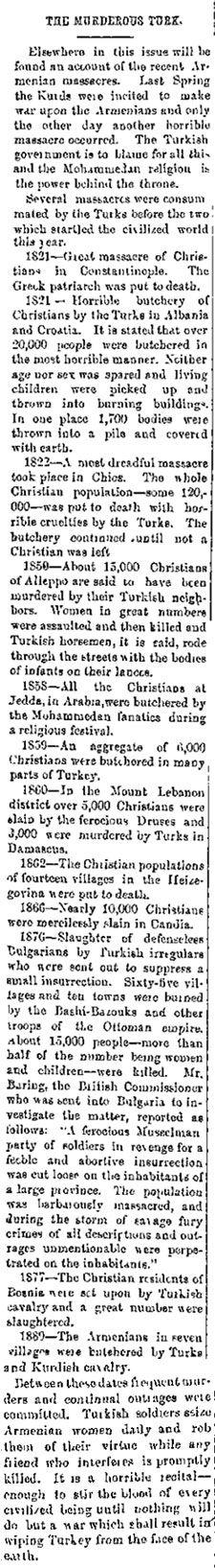 The Murderous Turk. The Utah Journal Newspaper 1895-12-14 www.greek-genocide.net
