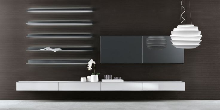 Abacus living composition with drawer units in bianco neve lacquered glass, wall storage units and Eos shelves in grigio ardesia lacquered glass.