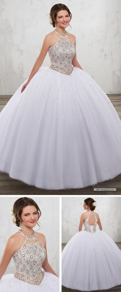 Mary's Quinceanera Style 4816 • Tulle quinceanera ball gown with beaded bodice, halter jewel neck line, basque waist line, and back with keyhole and lace-up closure.