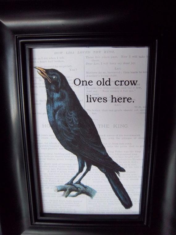 primitive halloween crow art print framed raven by iwathd09 1000 - Halloween Crows