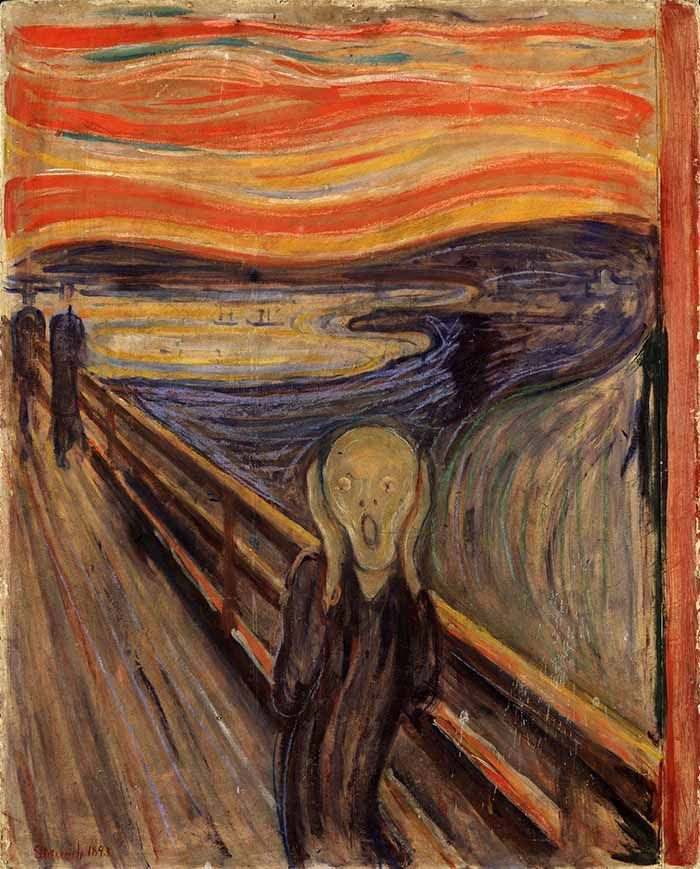 Edward Munch - The Scream. This will always be one of my favorite paintings. Munch was all about the human experience, and this painting was specifically about feeling helpless to love and death as overwhelming powers that we have no control over. The colors, the shapes...it's all for a purpose. I love it.