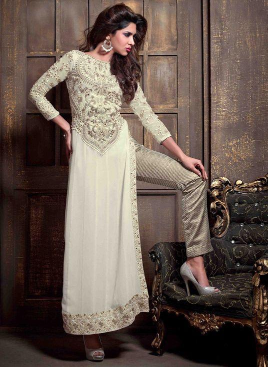 USD 75.34 Off White Georgette Pakistani Style Suit 47888