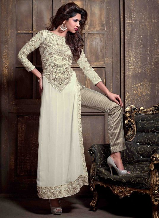 USD 75.34 Off White Georgette Pakistani Style Suit 47888
