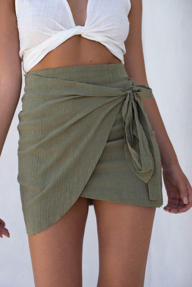 wrapped khaki skirt