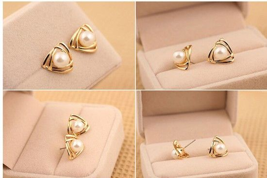 Aliexpress.com : Buy Fashion Womens triangle Gold Plated White Freshwater Pearl Stud Earrings Jewelry from Reliable Stud Earrings suppliers on mumujewelry | Alibaba Group