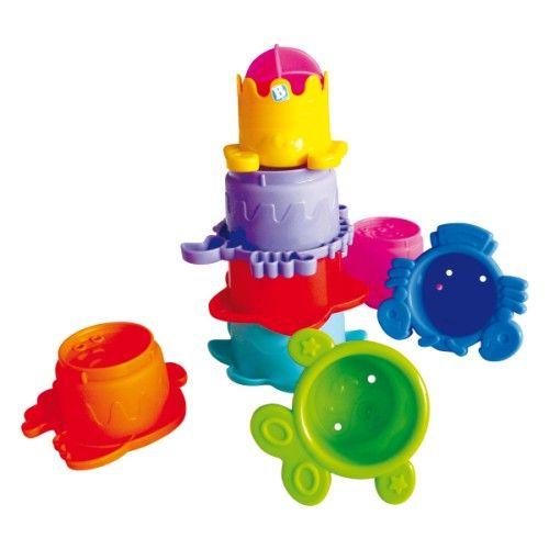 8 gobelets avec chacun un dessin, des trous et le chiffre correspondant au nombre de trous. L'enfant les remplit d'eau et la laisse s'écouler par les trous. Il les empile, les fait flotter et joue avec l'eau.