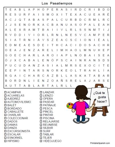 Printable Spanish FREEBIE of the Day: Los Pasatiempos word search puzzle from PrintableSpanish.com