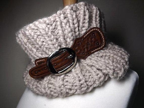 Hand Knit Cowl- The Equestrian Cowl Linen Beige Tan ...